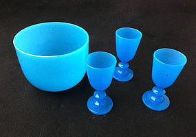 Blue Opaline bowl and glasses, Second Empire