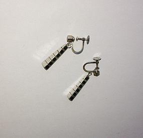 Arvo Saarela Scandinavian 50's earrings, silver & wood