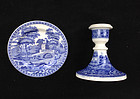 Spode Blue Tower: candle holder and dish / toy dinner plate