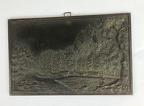 German cast iron miniature plaque, 19th c, signed