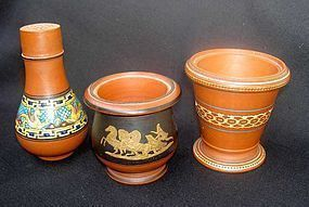 Three Prattware Rosso Antico or terracotta pieces, Victorian