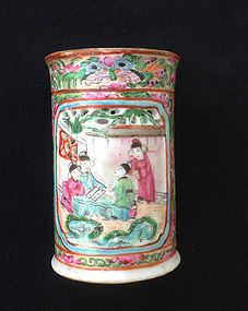 Canton Famille rose / Rose Medallion brush holder