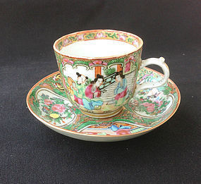 Canton Famille rose / Rose Medallion cup and saucer