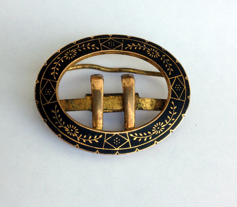 French enamel & brass clasp, Empire revival, 1880's
