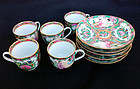 Five Canton Famille Rose / Rose Medallion cups and saucers