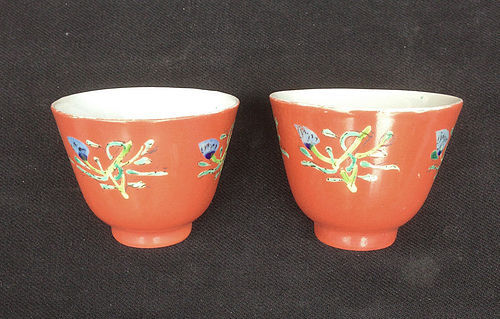 Coral red tea bowls, antique, Japanese?