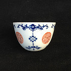 Overglaze blue wine cup with Shou, Jiaqing, early 19th century