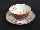 Cafe au lait or Batavia ware cup and saucer, early 18th century