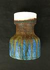 Fantoni brown and blue vase, c 1960