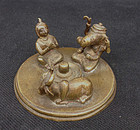 Indian or Sri Lankan miniature bronze altar / shrine