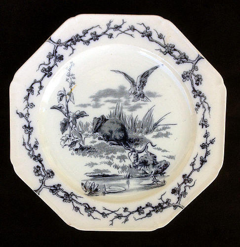 The Rat and the Frog, Aesthetic Fables plate, Staffordshire, Victorian