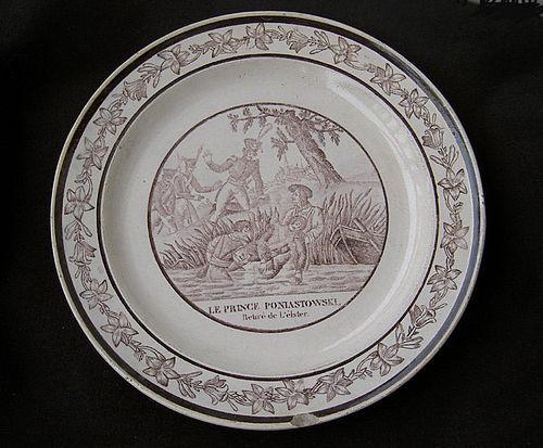 Creil transfer printed plate, c 1810: death of Prince Poniatowski