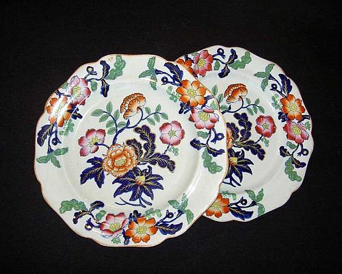 Pair of Staffordshire early Victorian Imari plates, Ironstone China