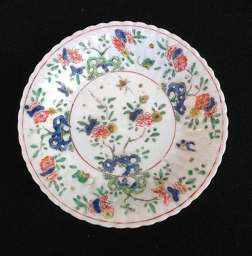 Kangxi verte and café-au-lait ribbed saucer plate