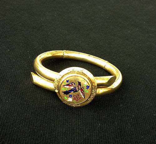 Victorian (brass) and enamel bangle