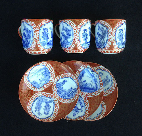 Three Kutani egg-shell cups and saucers, Hirado c 1900