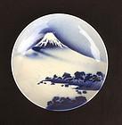 Japanese blue and white Mount Fuji dish / bowl, Meiji