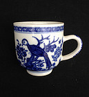 Blue and white English coffee cup, 18th century