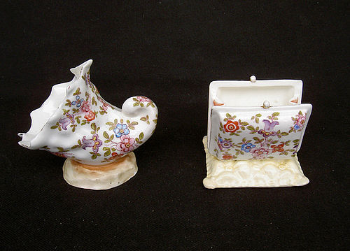 Flowery purse and shell, Victorian pin money bowls