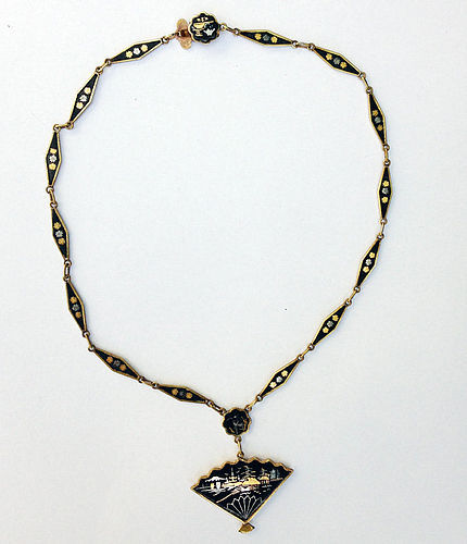 Japanese Komai style necklace, damascened in gold and silver