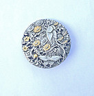 Japanese mixed metal antique button, now brooch