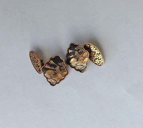 Komai style Japanese cufflinks, c 1930