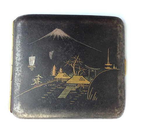 Japanese Komai style damascene cigarette case