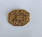 French 1930�s Déco gilt brass brooch