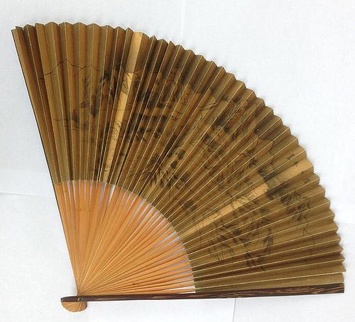 Japanese folding fan with ink painting, sumi-e, and calligraphy