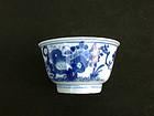 Kangxi blue and white tea bowl, c 1700