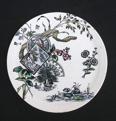 Aesthetic movement dish in the Tennyson pattern, Staffordshire