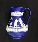 Wedgwood blue jasperware Etruscan jug, c 1890