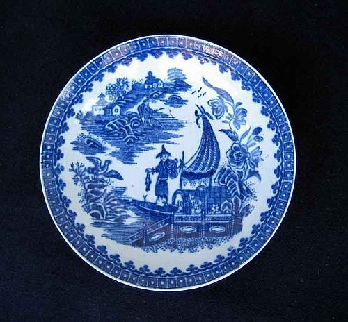 Worcester transfer printed Fisherman's pattern bowl, c 1780