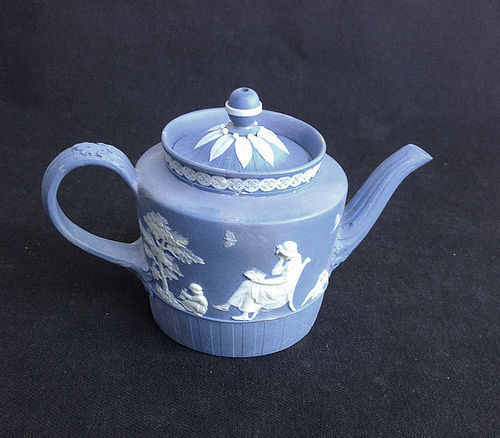Wedgwood or Turner 18th century jasper toy teapot