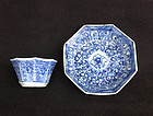 Blue and white wine cup and saucer, Kangxi