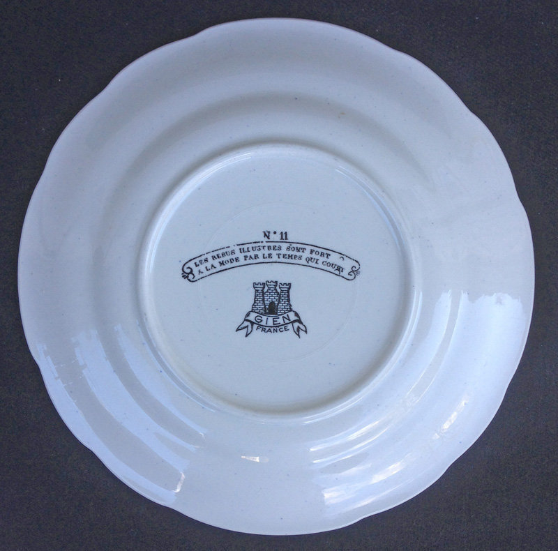French talking plates / assiettes parlantes, Gien c 1950's