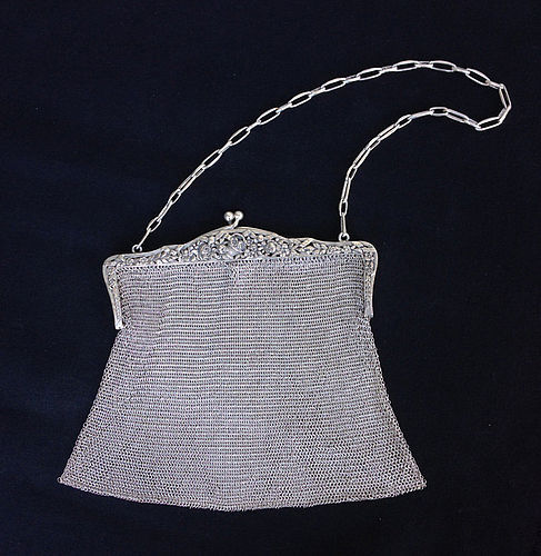 Mesh silver purse, c 1920-30