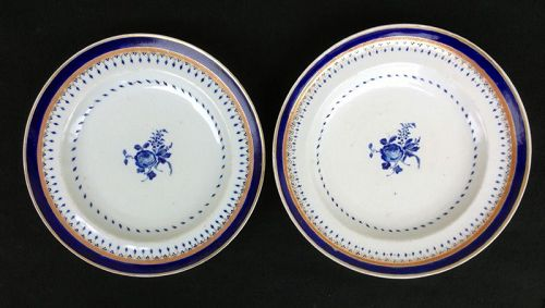 Blue and white enameled Chinese Export plates, c 1790