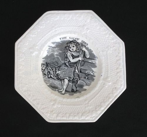 �The Gipsy Girl�, Welsh Swansea transfer printed child�s plate, c 1830