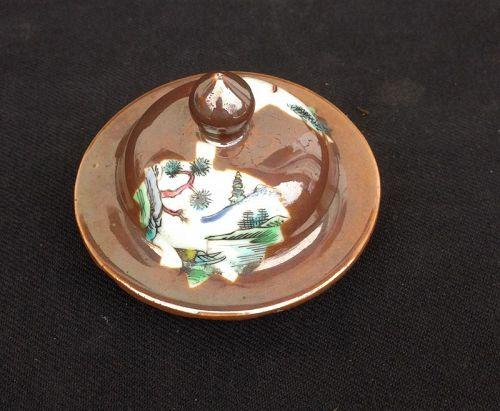 Chocolate or Batavia brown urn lid, early 18th century