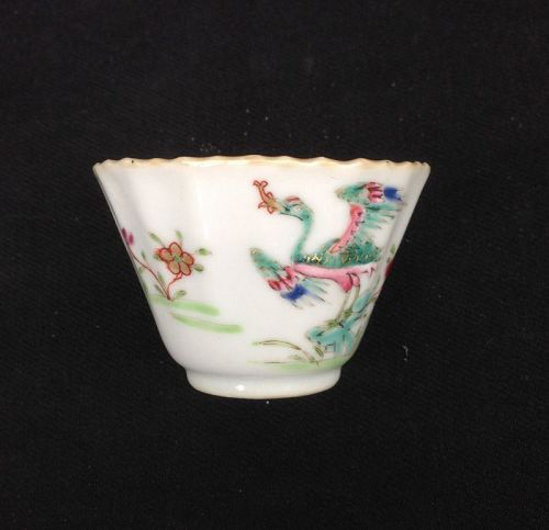 Famille rose cup with crane and peony, early Qianlong