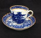 Caughley soft paste blue and white �Salopian� cup and saucer, 18th c