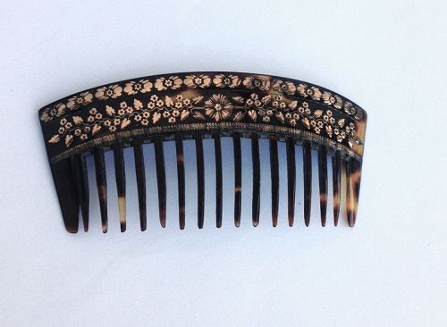 Gold pique tortoise comb, Victorian