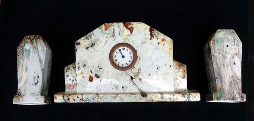 Art Déco marble glazed clock set, French or Belgian