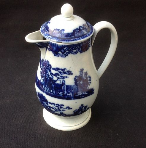 English blue and white transfer printed lidded jug / pitcher, 18th c