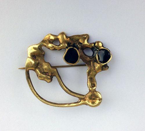 Brutalist bronze brooch, Pal Kepenyes style, c 1960