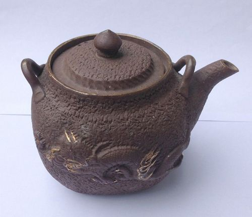 Banko ware dragon and lion dog teapot, early 20th century
