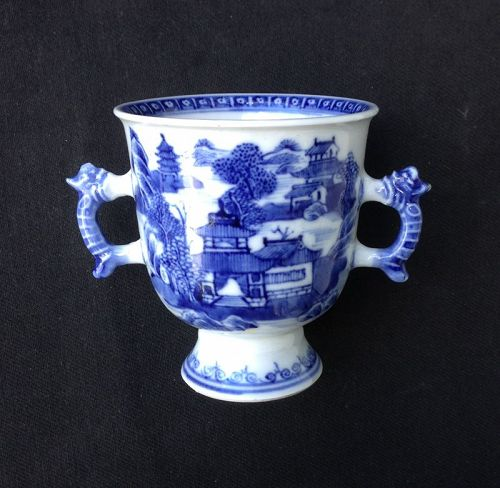Chinese Export two-handled cup, a chocolate cup, Qianlong, c 1760