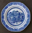 Rare Chinese export plate: view of Guangzhou / Canton, Qianlong c 1780
