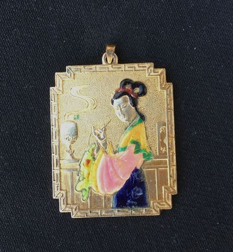 Chinoiserie gilt metal and enamel pendant, c 1920
